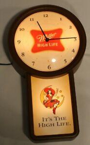 Vtg Miller High Life Beer GIRL on MOON Wall Clock Bar Sign Man Cave