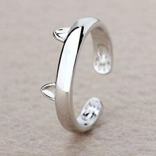 -UK- Silver Plated Cat Ear Ring Design Cute Fashion Jewellery Cat Ring