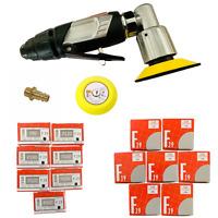 Mini Druckluft Excenterschleifer 75mm + 50 CS Schleifscheiben P80 bis P500 KFZ