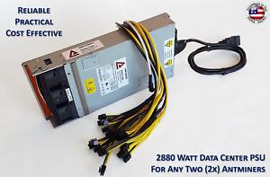 2880 Watt Mining Power Supply For Two (2x) Antminer S9 / S9i / S9j / T9