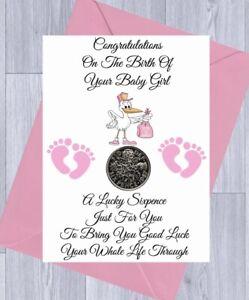 LUCKY SIXPENCE, NEW BABY GIRL/BOY Gift NEWBORN Gift STORK, Gift Card