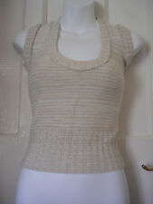 WOMENS QU7 CREAM/BEIGE KNITTED ACRYLIC/LYCRA SLEEVELESS TOP SIZE:8/36(WT55)