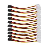 10pcs 4 Pin IDE Y Molex to 6 Pin PCI-E Power Converter Adapter Cable Connector