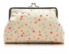 Clasp Dotted Make Up Cosmetic Case Bag Pouch, Organizer Cotton Beige Dots