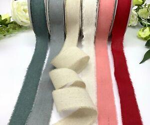 "1.5"" frayed edge ribbon natural cotton linen trim rustic wedding vintage bow"