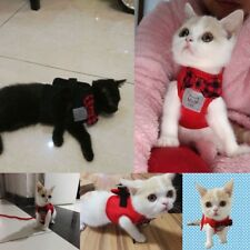 Pet Kitten Mesh Bowtie Cat Harness and Leash Small Cat Walking Harness Clothes