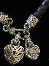 Simply Stunning Judith Ripka: 14 K White Gold and Diamond Leather Heart Pendant