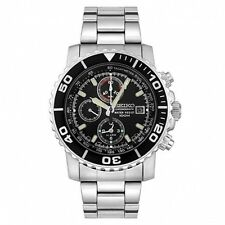 Seiko SNA225 P1 Silver Black Face Chronograph Men's Analog Watch With Retail Box