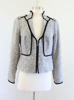 White House Black Market Gray Tweed Mandarin Collar Blazer Jacket Size 2 Zip Up