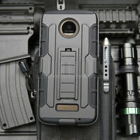 For Motorola Moto Z/Z Force Droid Shockproof Armor Stand Holster Clip Case Cover