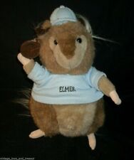 "11"" Vintage Brown Cuddle Wit Elmer Gopher Stuffed Animal Plush Toy Blue Shirt"