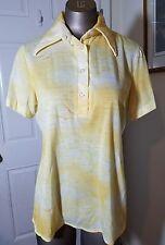 Vintage 70s Womens Jantzen Yellow Seagulls Surf Polo Shirt L Large Mod Atomic