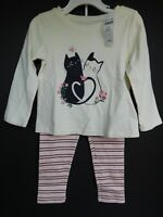 NWT Gap Baby Toddler Girl's 2 Pc Outfit Kittens Sizes 3 4 5 Yrs MSRP $30 New
