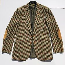 DAKS Signature Check Blazer 40 Suede Trim & Elbow Pads Country Jacket 100% Wool