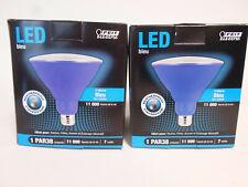 (2) LED BLUE PAR38 FLOOD LIGHT WEATHERPROOF Indoor Outdoor Bulb Feit Electric