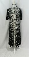 Alfani Womens Black and White Spots Midi Dress Tie at Neck Short Sleeve S NWT