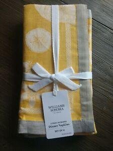 New Williams Sonoma Citrus Jacquard Napkins Yellow Set of 4