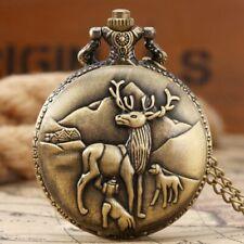 Pocket Watch Chain Antique Design Watch Retro Pocket Watch Elk Deer Quartz