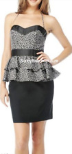 Betsey Johnson Leopard Peplum Celeb Silk Black White Animal Panther Dress 8