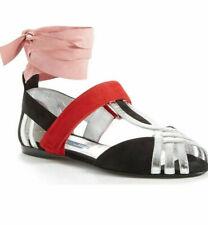 Prada Leather Ballet Flats Ballerina Ankle Wrap Sandals Shoe 38.5 / 7.5