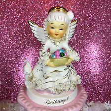 Vtg Napco April Easter Angel Girl W/ Bunny & Egg Basket Pearls Figurine Japan