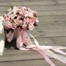 Pink White Wedding Bouquet Handmade Artificial Flower Rose Bridal Bouquet Decor