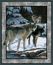 Fabric Springs Wild Wings Wolf Silver Shadows Panel