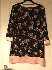 M&Co Black Watercolour Floral Pattern Stretch Shift Dress Sz 14
