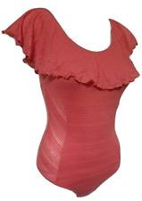 NEW BEBE 2B Women's XS Burnout Stripe Ruffle Leotard One Piece Bodysuit