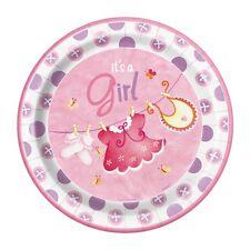 Su una niña rosa 8 grandes placas de papel nueva llegada Baby Shower Baberos Calcetines Vestido