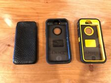 Lot of 3 Iphone SE cases - 2 Otter boxes + Leather