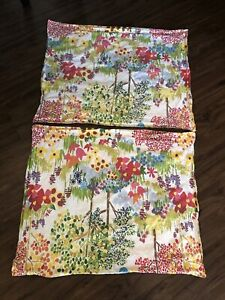 2 Pottery Barn WOODLAND Paint By Number Organic Cotton Pillow Shams Standard