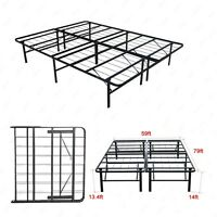 Modern Bi-Fold Queen Size Metal Bed Folding Platform Frame Mattress Foundation