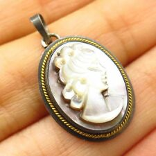Antique 800 Silver Abalone & Mother-Of-Pearl Victorian Lady Cameo Design Pendant