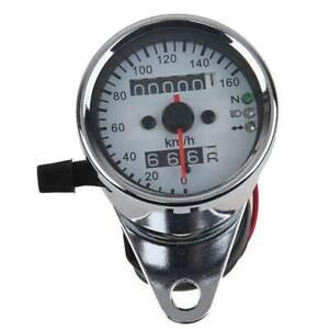 Motorcycle LED Backlight Dual Odometer KMH Speedometer Gauge Universal Pit Bikes