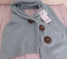 PURE Handknit Button Scarf Blue One Size Cotton Artsy New