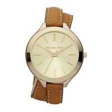 Michael Kors Women's MK2256 Slim Runway Brown Leather Watch