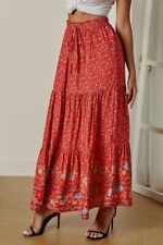 Red & Blue Ditsy Floral Print Boho Ruffle Tiered Elastic Maxi Skirt X-LARGE
