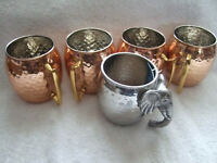 Vintage 5 pcs Moscow Mule Copper Hammered Mugs/Cups For Coffee,Tea,Party and fun