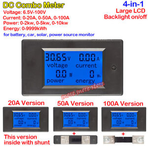 LCD Panel Meter 20A 50A 100A Battery Voltage Current Power Combo Car SolarSystem