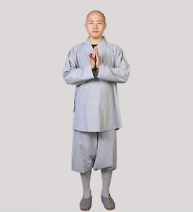 Shaolin Monk Kung Fu Uniform Buddhist Gown Meditation Dharma Tai Chi Clothing