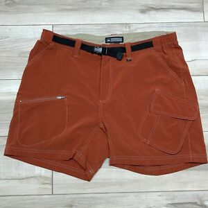"""REI Womens Hiking Shorts UPF 30 Size Large 34""""Orange Cargo Pockets Belted Nylon"""