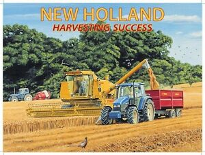 New Holland, Combine Harvester & Tractors, Farm, Small Metal Tin Sign, Picture