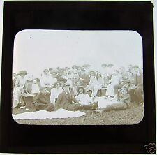 Glass Magic Lantern Slide EDWARDIAN PICNIC DATED 1910