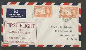 CAYMAN ISLANDS AIRWAYS 1947 FIRST FLIGHT COVER CAYMAN BRAC TO JAMAICA