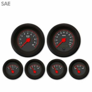 6 Gauge Kit SAE  Black Red M Needles Black Bezel Cluster Custom Instrument V8