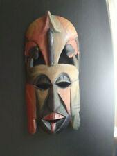 Massai Hand Carved Wooden Tribal Mask, Wall Art