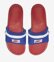 Nike Benassi JDI Fanny Pack Slide Sandals Bright Crimson/Blue AO1037-601 Size 7