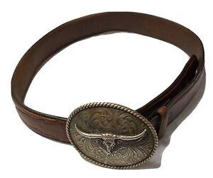 "Longhorn Bull Steer Western Metal Belt Buckle With 30"" Leather Belt"