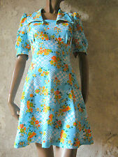 CHIC VINTAGE TOP ROBE 70s DRESS VTG MOD SCOOTER GRAPHIC ANNEES 70 ABITO (38)